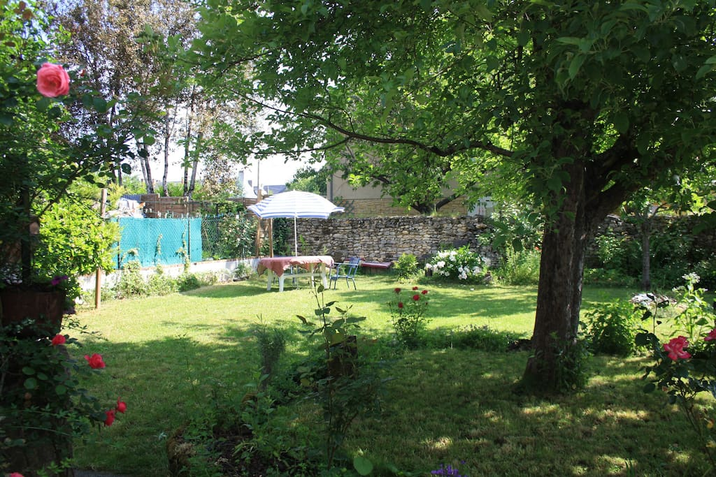 Very pleasant garden. Part on the left is reserved for our clients, with BBQ and garden furniture.