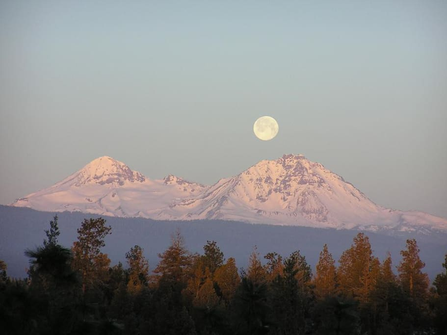 Moonset over Windsong - view from back deck
