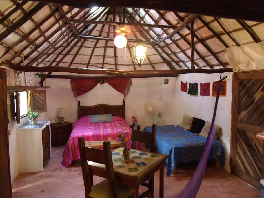 Casitas Kinsol Guesthouse in Puerto Morelos - near Cancun - Room #1 - An authentic Mayan hut with 1 double and 1 single bed