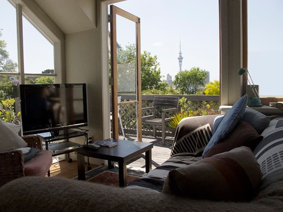 Upstairs, a spot to relax and catch the city view