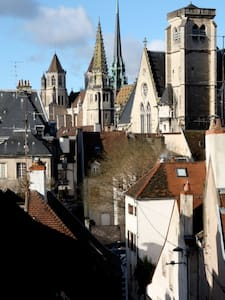 Just listed - Apartment Bonnard is a spacious, bright and newly renovated 2 bedroom apartment in the heart of Dijon. Large 85 square metre accommodation with views of Dijon from most windows. Spacious lounge dining room with 6 seater dining table