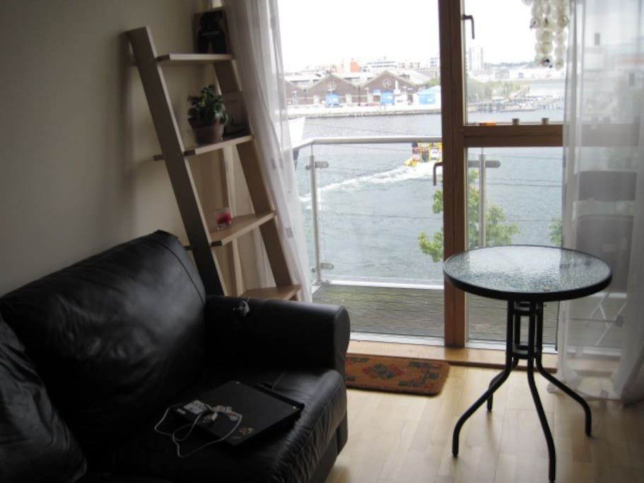 View from living room towards Grand canal basin and the Liffey river