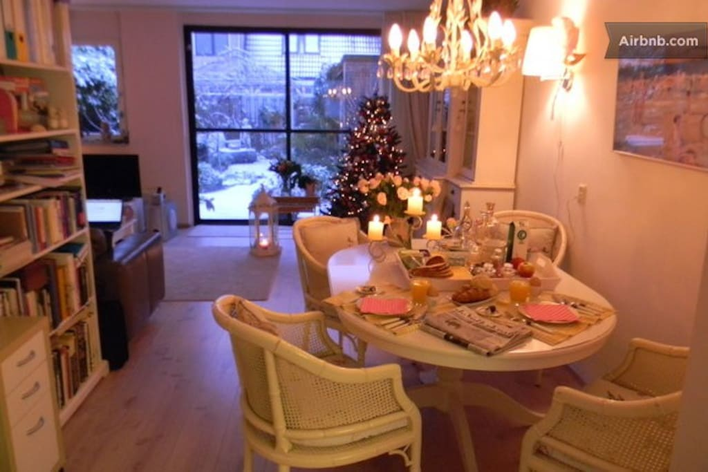breakfast table at Christmas time