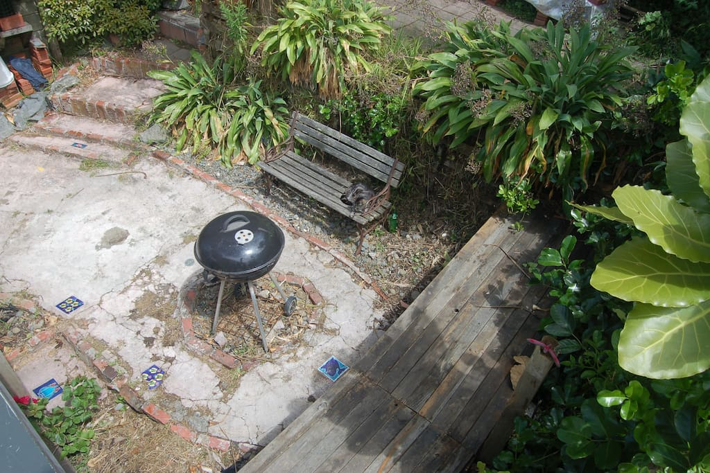 Private BBQ area surrounded by native bush.