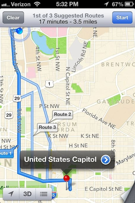 10 minute ride to the National Mall (at National Archives), 17 to Capital