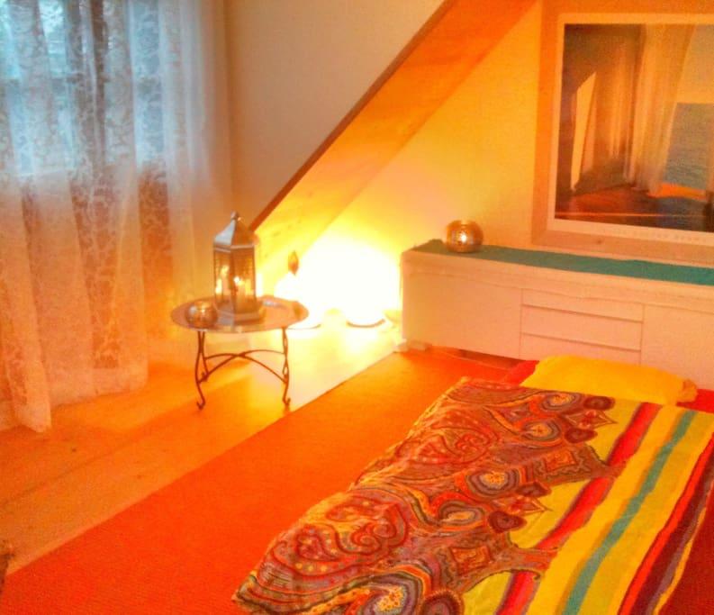 warm light, candles.. new wooden flooring