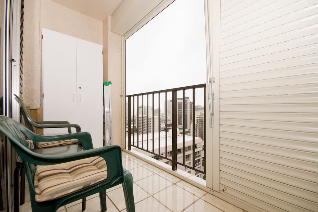 Balcony with outdoor roller blinds