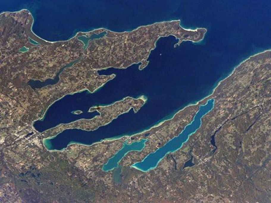 The Twin Bays; Antrim, Grand Traverse, & Leelanau Counties from above