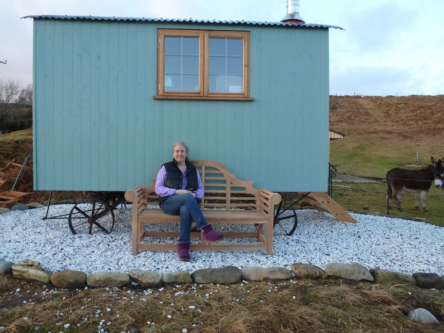 Janet, your host, outside Bothan Buidheag, the dog-friendly hut.