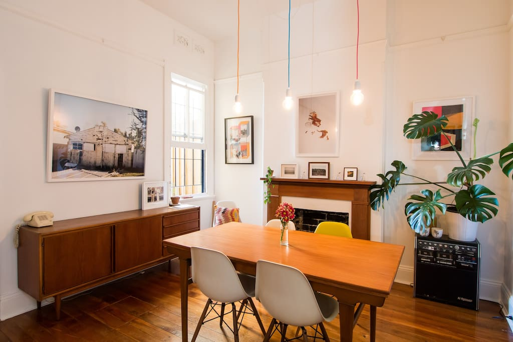 Artworks and plants fill the house