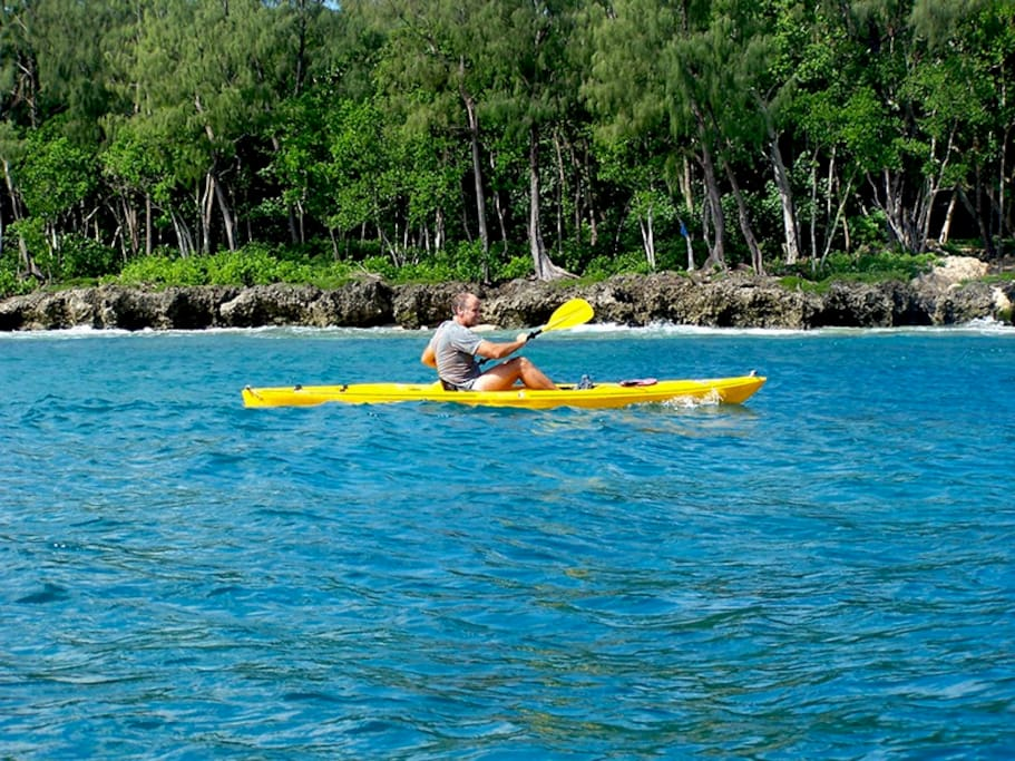 Go Kayaking in the sweeping Tuk tuk Bay, an idyllic tropical setting - at Sanddollar Accommodation Port Vila, Vanuatu