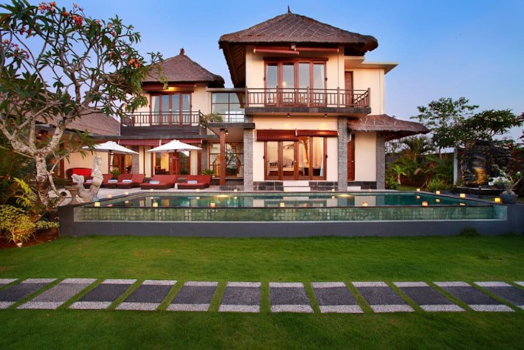 The villa boasts 3 bedrooms on the ground floor and 2 bedrooms on the second floor.