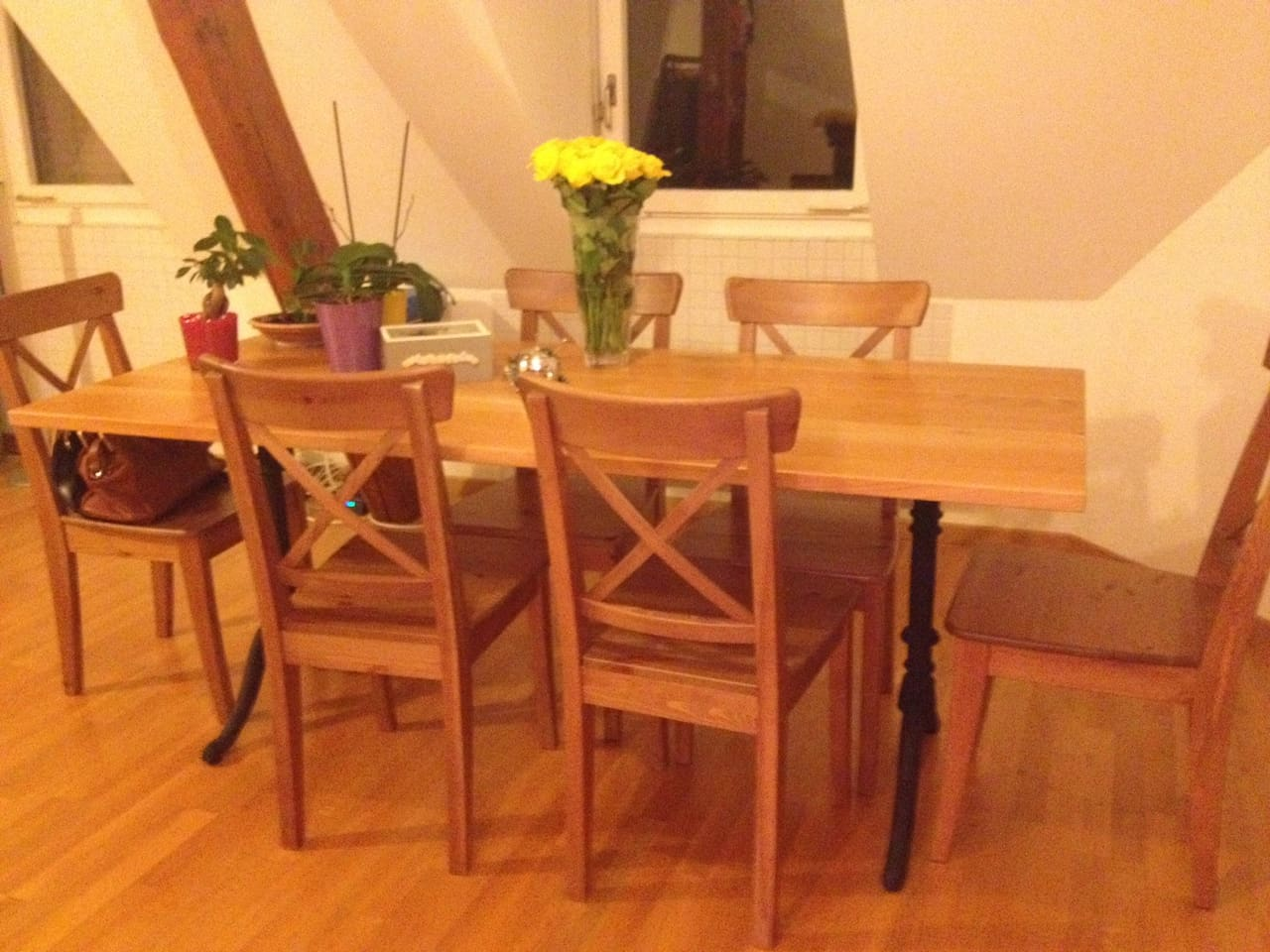 The cherry wood dining table