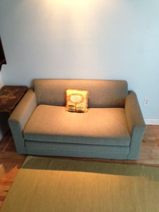 Couch converts to a twin-size bed.