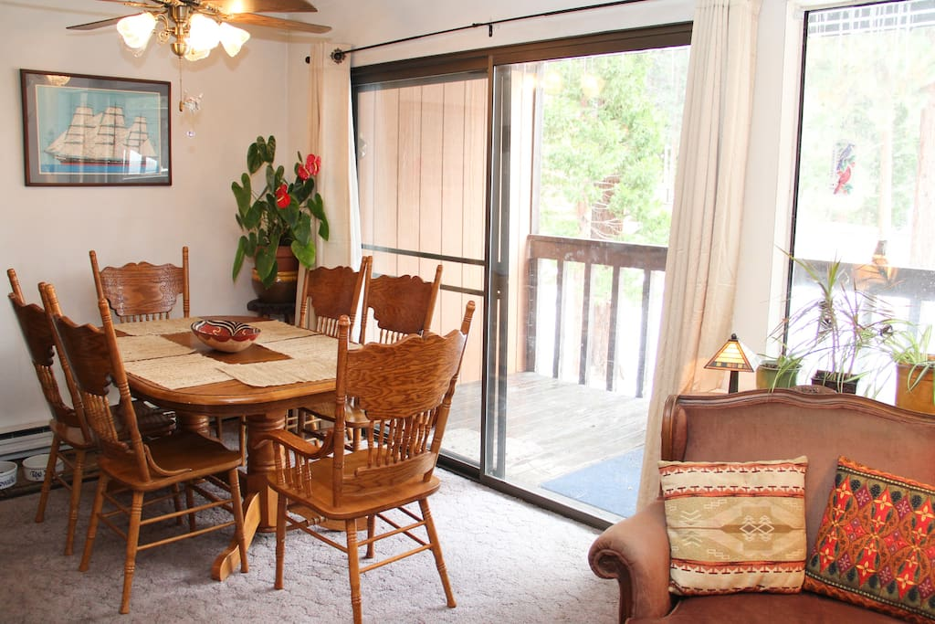 Dining room, outside deck.