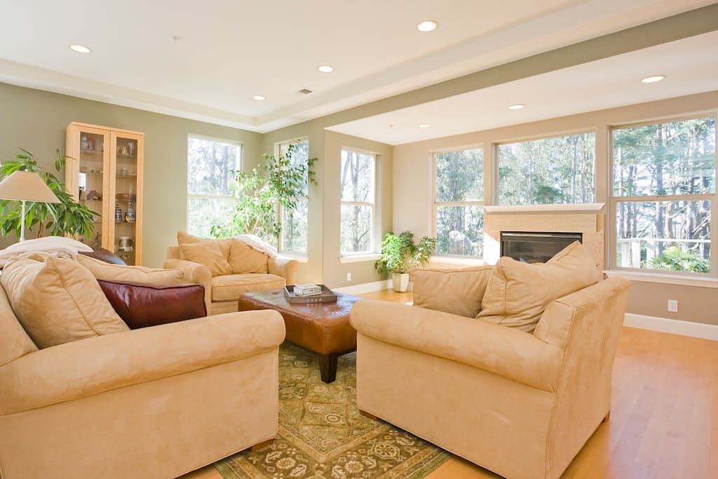 Living Room with comfy seating awaiting guests.