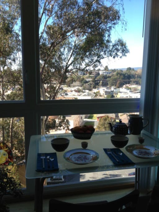 dining area with view of capitola village & beach!