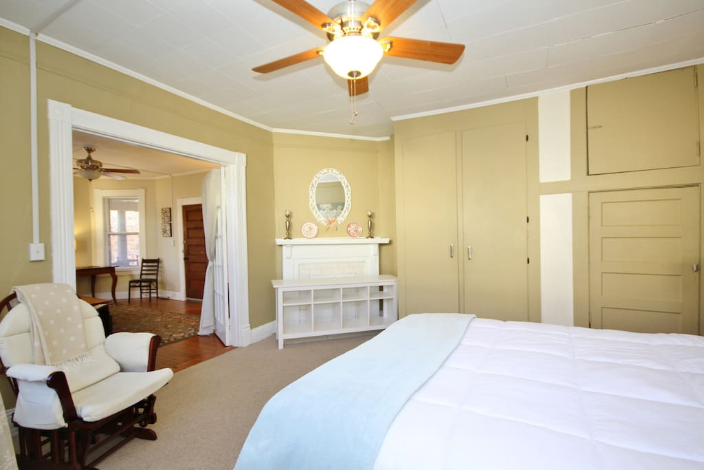 The bedroom is sunlit from three large windows. The closets provide ample storage for your belongings.