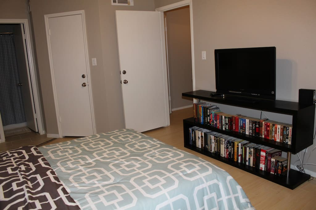 BEDROOM WITH TV AND LIBRARY