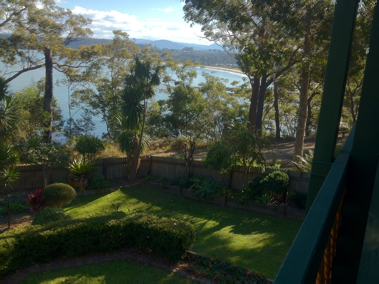 Our Clifftop Garden with views of the sparkling, pristine waters of Batemans Bay