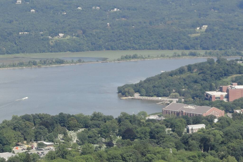 US Military Academy at West Point and Hudson River as viewed from Storm King Mountain Highway just minutes away.