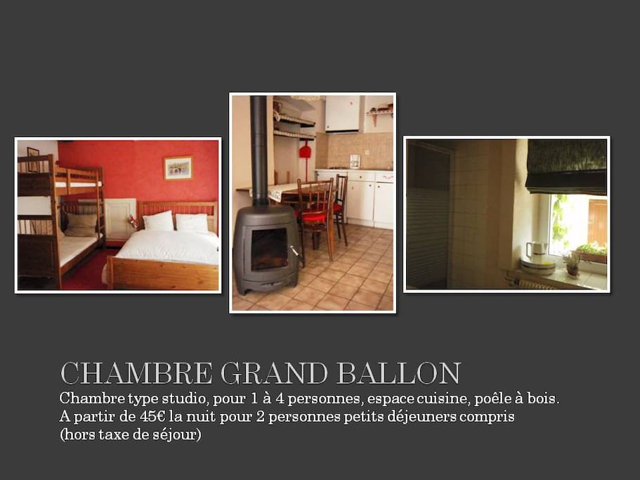 Chambre Grand Ballon, 1 lit double+2 lits simples superposés-1 double bed+2 simple beds supperposed