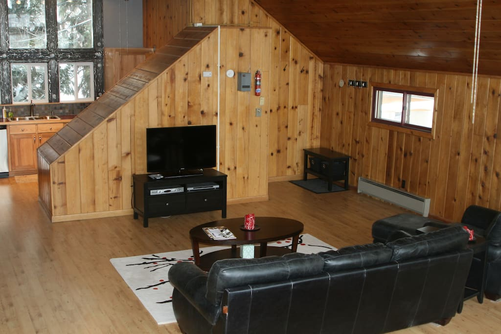 Living area. Television and DVD player, cable and wifi.  Put your feet up after a long day of skiing, mountain biking, hiking or shopping!
