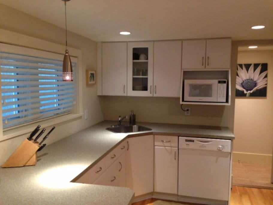 Full kitchen (open concept to living room), incl microwave, dishwasher, stove, fridge all dishes