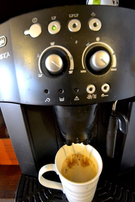 Free coffee. Automatic espresso machine.