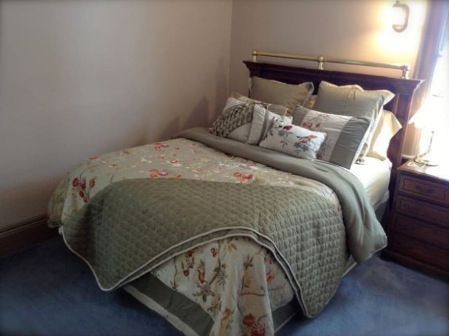 Enjoy the comfort of your pillow-top queen bed and room to spread out.  Built in closet for hanging clothes and bedside dresser offer the comforts of home.