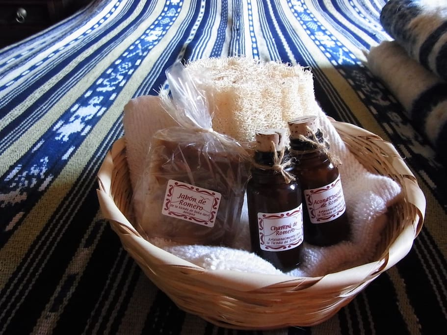 Organic shampoo, conditioner, and soap as a gift for our guests!