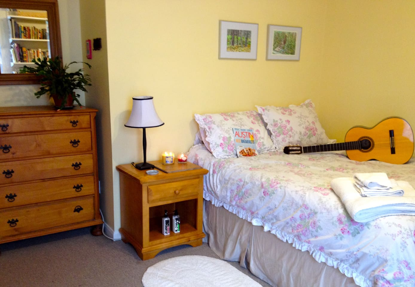 Your comfy bedroom. This is 1/2 room; other half has long Elfa unit with shelves and white desktop.