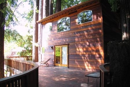 Located on a large wooded lot in Monte Rio, three blocks from the Russian River, this beautifully crafted redwood house has been called an artistic masterpiece by many who have visited.