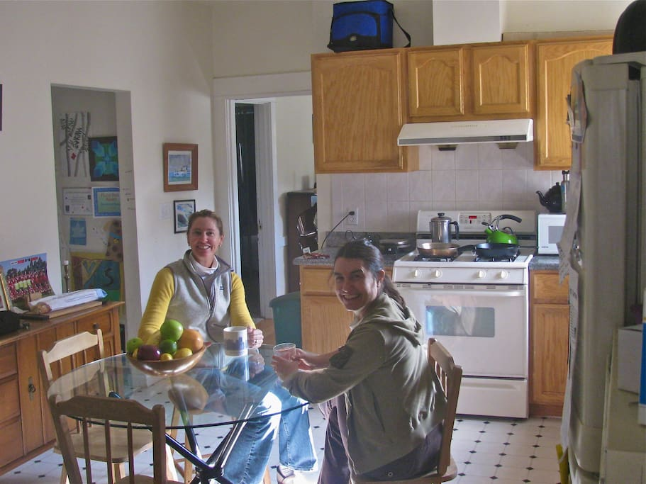 My friend, Barrie (left), and I in the kitchen enjoying breakfast