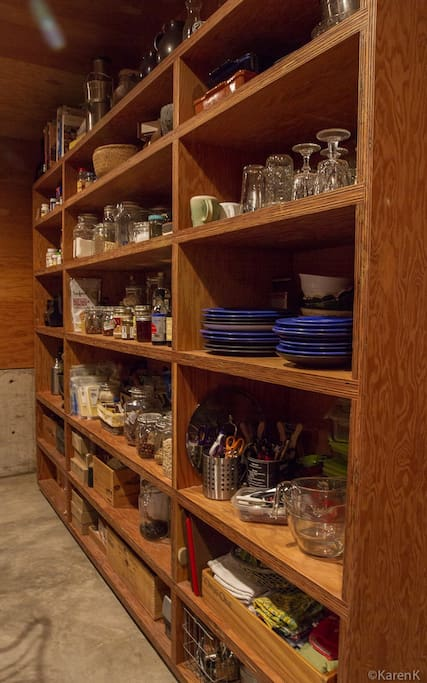 Wonderful plywood shelving.... the walls of the kitchen are all plywood.
