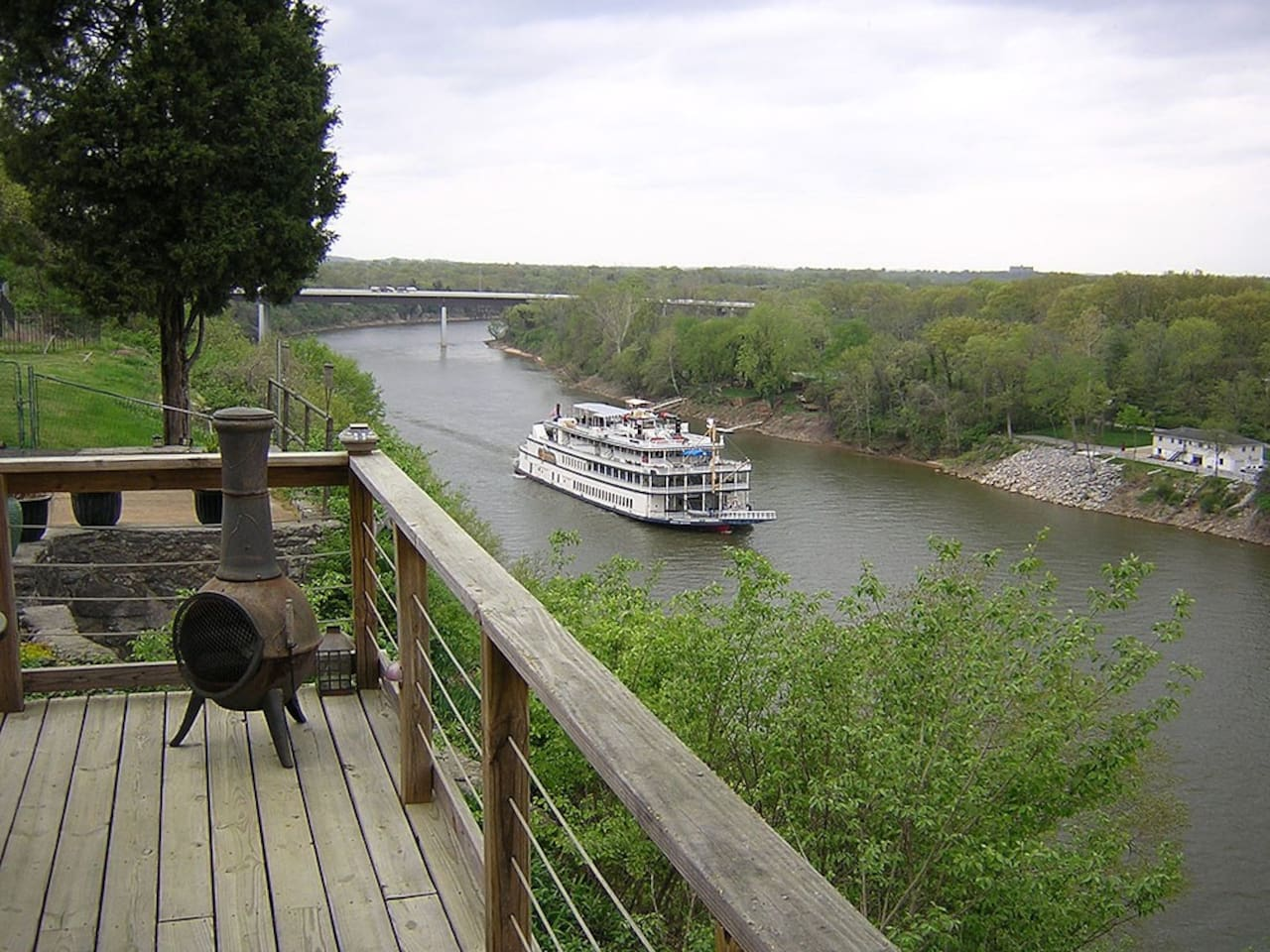 The Bluff Deck. Barges and riverboats are a common sight.