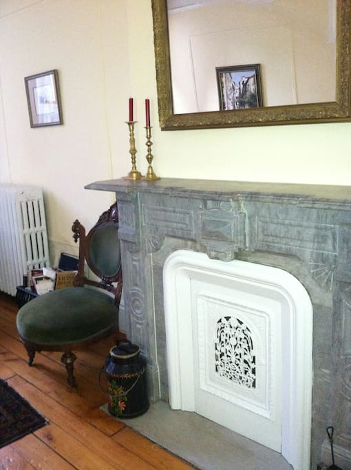 Authentic marble fireplace.