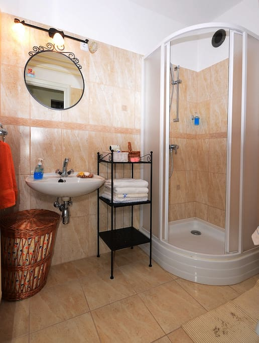 Bathroom with shower. We provide towels and soap