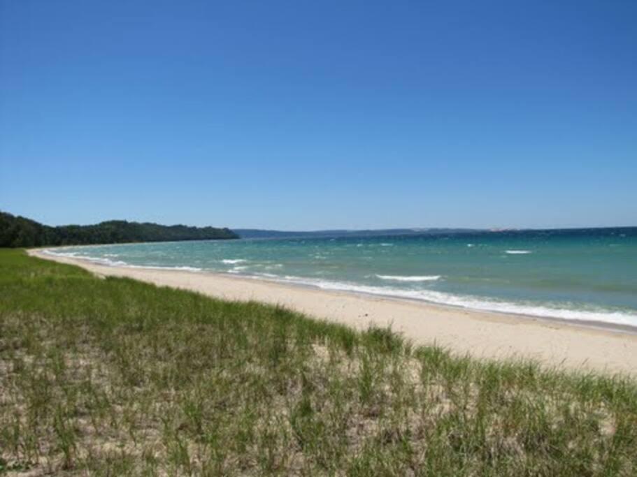 100 feet of private beach