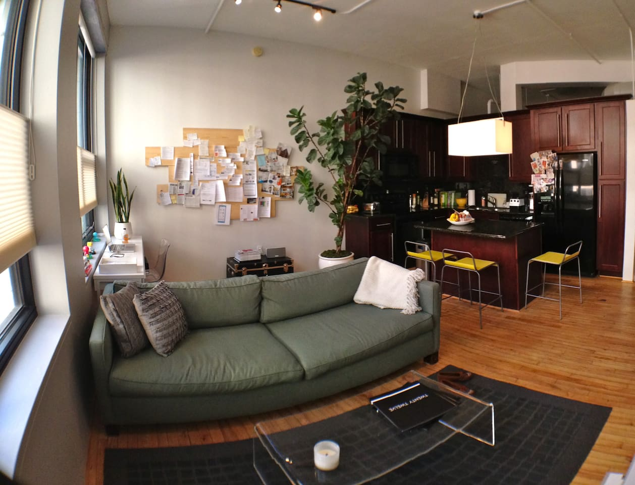 Open living space, work space w/WiFi, & kitchen.