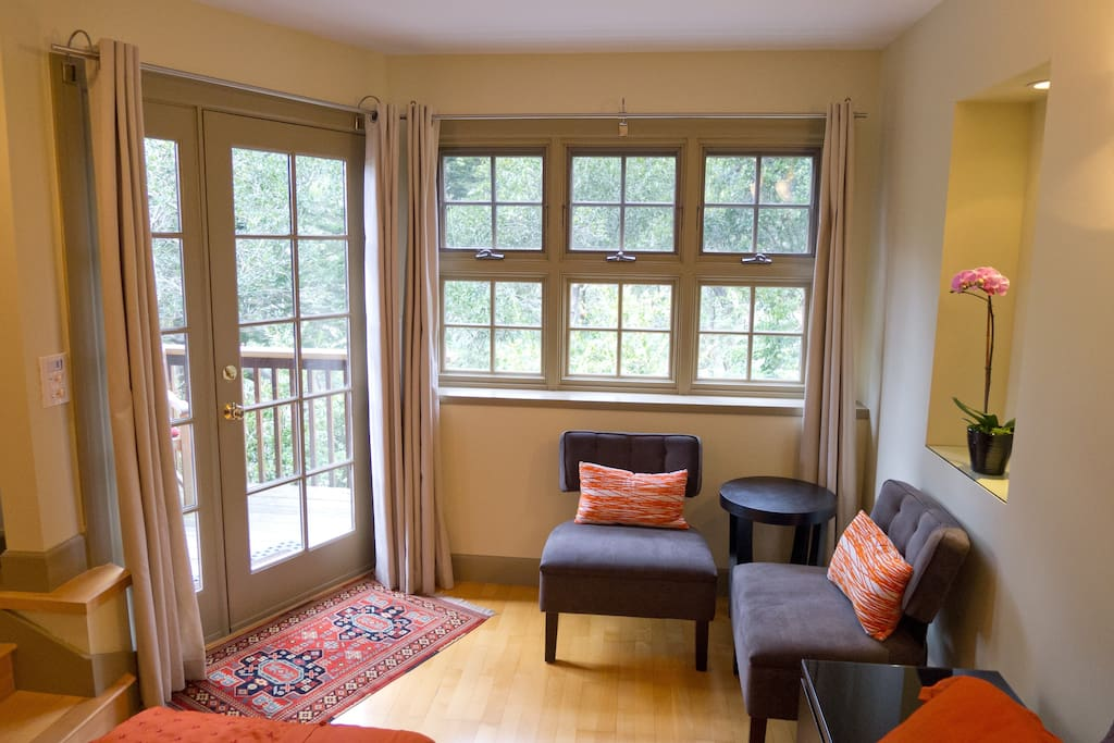 Lots of windows to let in the light and give you a peaceful view out to the trees.