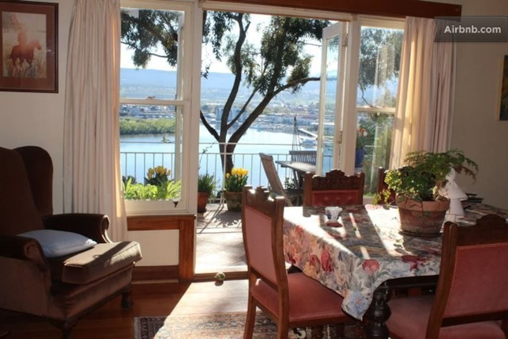 Dining room and patio overlooking the Tamar River, Seaport and Home Point