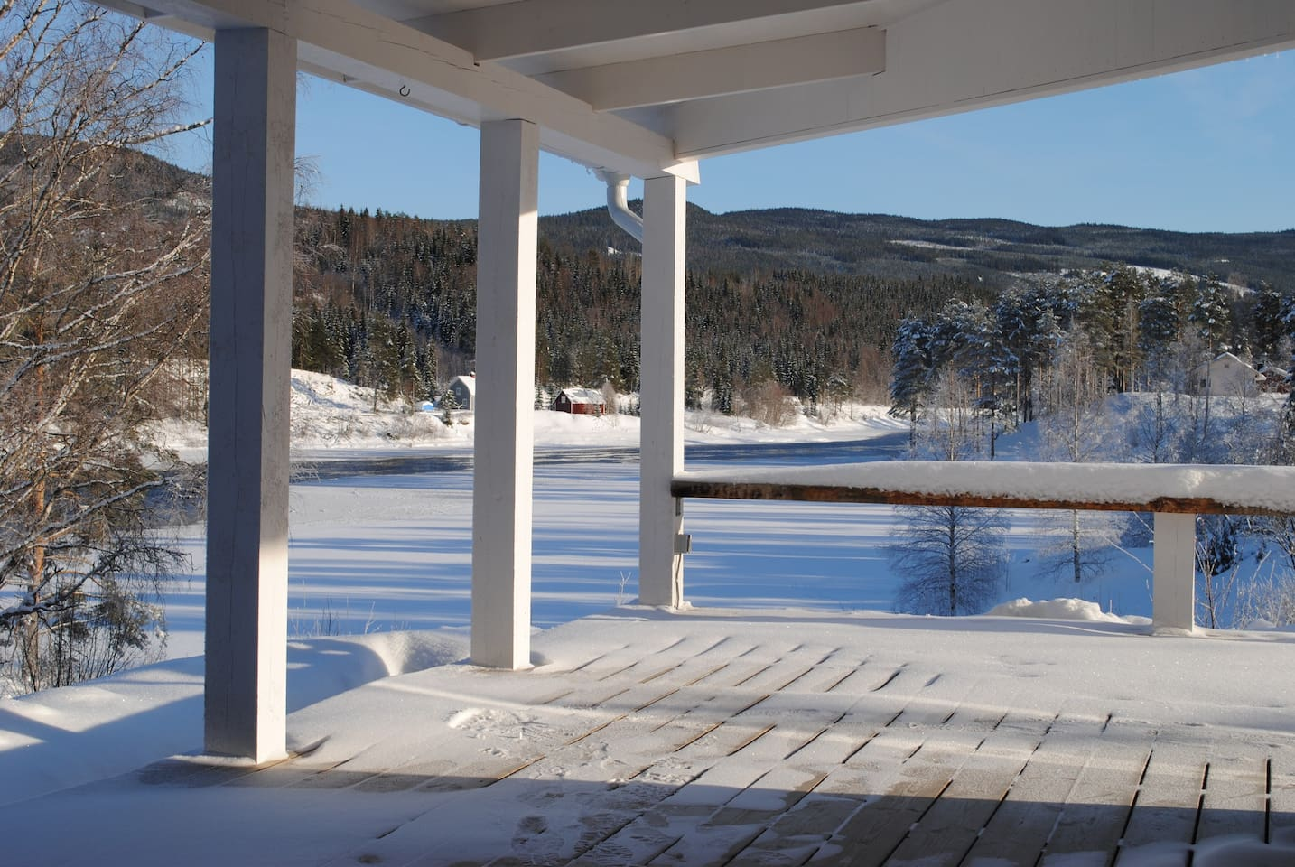 This is the view from the veranda over the river Klaralven, it can't come any better.