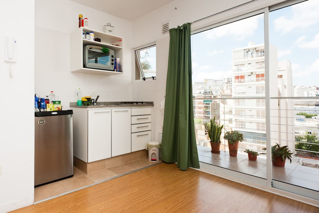balcony is wide and comfortable, open view and full of light