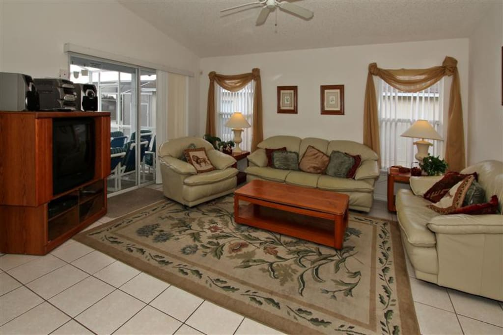 Living Room Area with Pool Access