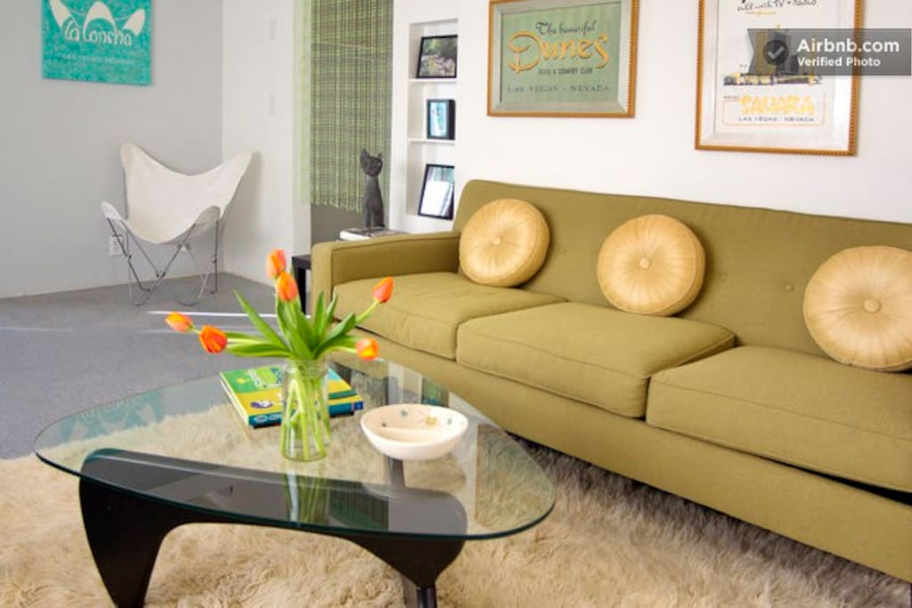 Comfortable clean Mid Century Modern designer furnishings.