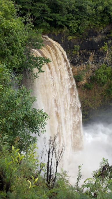 This is Waialua Falls after a heavy rain. Only five miles away from my house.