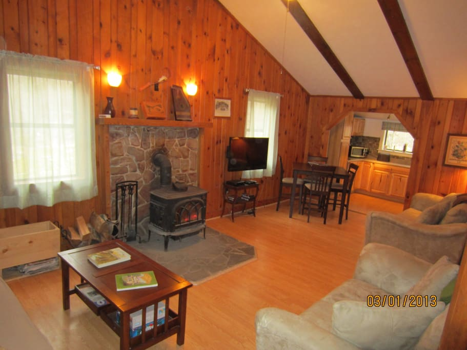 Living room with real wood burning stove.