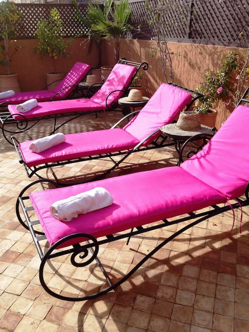 sun loungers on our sunny roof terrace