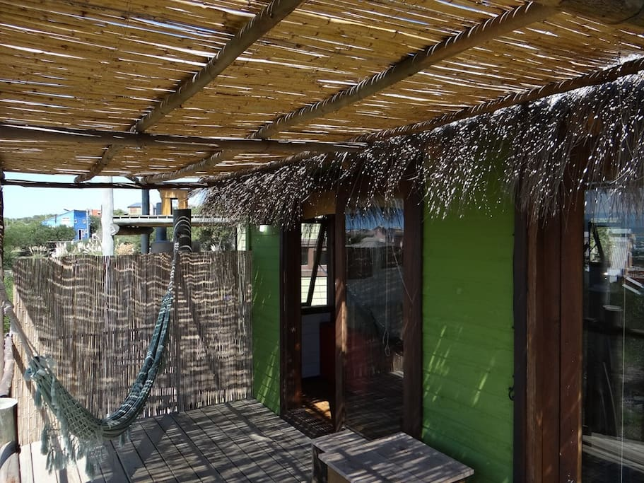 Private deck with bamboo shading, hammock and BBQ